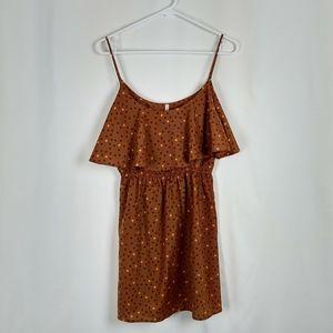 My Story Orange Teal Boho Ruffle Mini Dress Medium